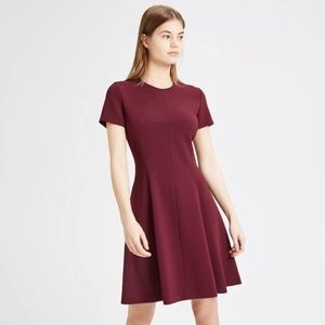Theory Maroon Short Sleeve Fit And Flare Dress